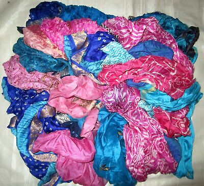 UK LOT PURE SILK Vintage Sari REMNANT Fabrics 100 GRAMS Blue Pink #ABM5A
