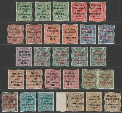 Ireland 1922 Provisional Government Overprint Selection to 1sh Mint