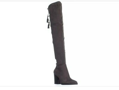 28a76180fc2  230 MARC FISHER Alinda Over The Knee Boot Gray Stretch Fabric Women 6 M ✨  -  20.00