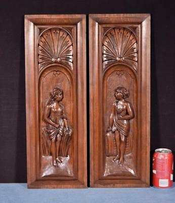 *Pair of Antique French Highly Carved Panels in Walnut Wood Salvage w/Figures