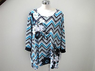 NWT's Alfred Dunner beautiful blue floral stud 3/4 sleeve scoop neck top   1X