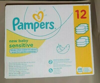 Pampers Sensitive Protect Baby Wipe Sheets 12X50 Pack of 600 Wipes