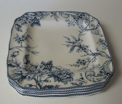222 Fifth Adelaide Blue Bird 4 Square Dinner Plates NWT