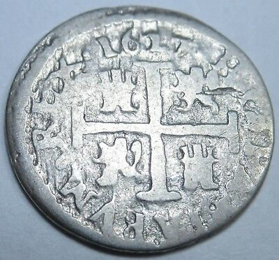 1627 Spanish Silver 1/2 Reales Piece of 8 Real US Colonial Pirate Treasure Coin