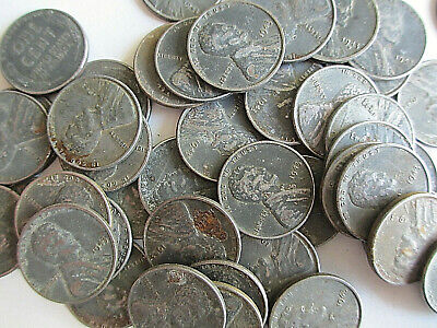 50 Wheat Cents Condition Circulated 1943 pennies with Rust