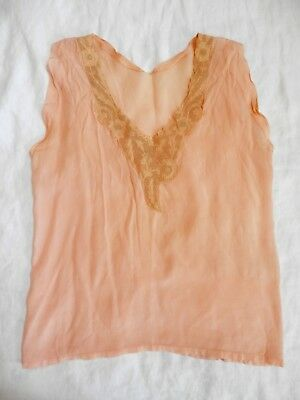Antique 20's 30's 40's Peach Pink Silk Lace Necklace Camisole Top M Vintage AsIs