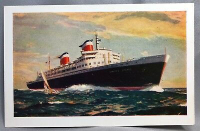 1950s SS United States Steamship Lines OCEAN LINER Postcard
