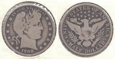 1908-O Silver Barber Half Dollar (50-cent Coin) in Very Good Condition ~