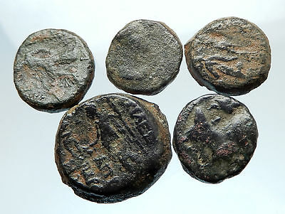 AUTHENTIC Ancient 400BC-250AD GREEK - 5 COINS Group Lot KIT Collection i74912