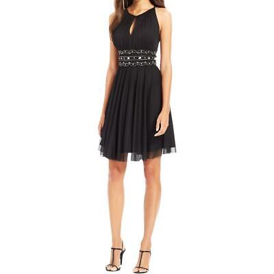 618b2d737ac42 Jessica Howard Womens Black Mesh Embellished Party Cocktail Dress 12 BHFO  7953