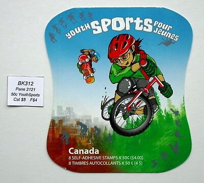 BK312 ~ Face $4 ~ Youth Sports ~ Pane 2121 ~ Canada Booklet Stamps  BK312