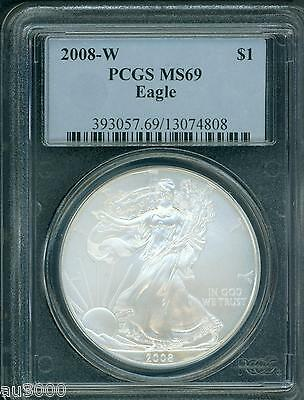 2008-W BURNISHED American Silver Eagle ASE S$1 PCGS MS69 BEAUTIFUL !