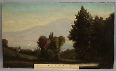 1870 Antique 19thC JEROME ELWELL Lake Como Italy Mountain Landscape Oil Painting
