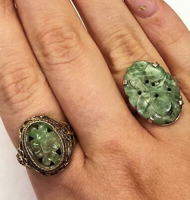 2 Antique Original China Silver & Floral Hand Carved Jade Silver Rings