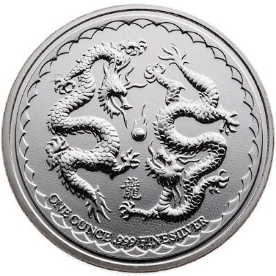 Gem~ 2018 ~1~Oz ~Pure .999 Silver ~ Lucky Double Dragon ~ New Zealand Mint~$9.99