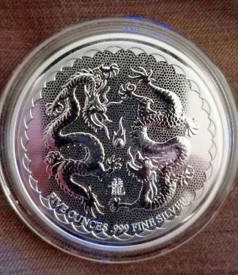 Wow~ 2018 ~5~Oz ~Pure .999 Silver ~ Lucky Double Dragon ~ New Zealand Mint~$9.99