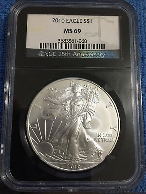 Beautiful 2010 American Silver Eagle MS69 NGC 25th Anniversary Black Holder