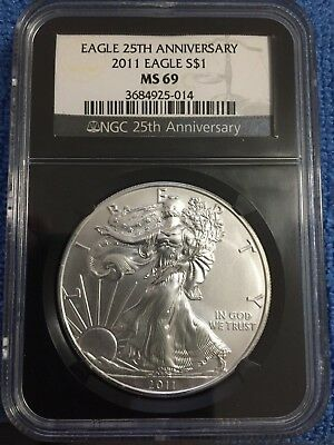 Beautiful 2011 American Silver Eagle MS69 NGC 25th Anniversary Black Holder