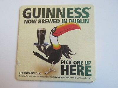 Beer Coaster: Guinness Brewing Stout ~ Now Brewed in Dublin, IRELAND ~ Toucan