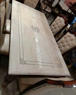 8'x4' Italian Marble Dining Table Top Precious Mother Of Pearl Inlay Decor E948D