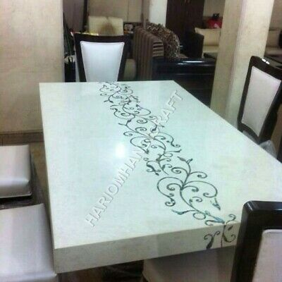 6'x3' Italian Marble Dining Table Top Mother Of Pearl Inlay Office Decors E950B