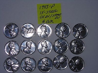 wheat penny 1943 STEEL LOT OF 15 CH BU/ BU 1943-P UNC LINCOLN CENTS PARTIAL ROLL