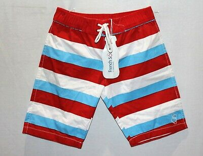FRENCH SODA Brand Red White Blue Stripe 'Henry' Beach Shorts Sz 7yrs BNWT #BOY1