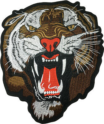 71f18035a0706 LARGE SIZE ROARING BENGAL TIGER HEAD Fear Jacket Vest Costume Sew Iron on  Patch
