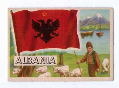 1956 Topps Flags Of The World #27 Albania Exnm