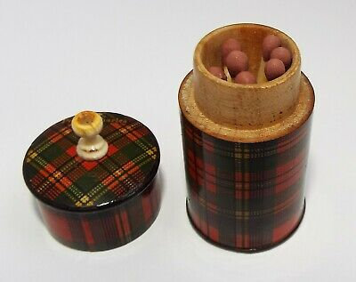 LOVELY RARE ANTIQUE VICTORIAN c.1880 TARTAN WARE VESTA & GO TO BED PRINCE CHARLI