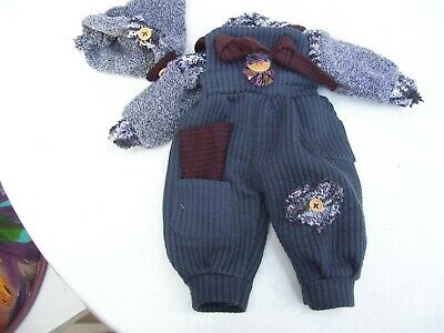 Alte Puppenkleidung Soft Jumper Hat Outfit vintage Doll clothes 35 cm Boy