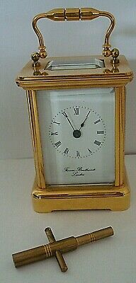 Vintage Miniature Brass Cased Thomas Braithwaite London 8 Day Carriage Clock