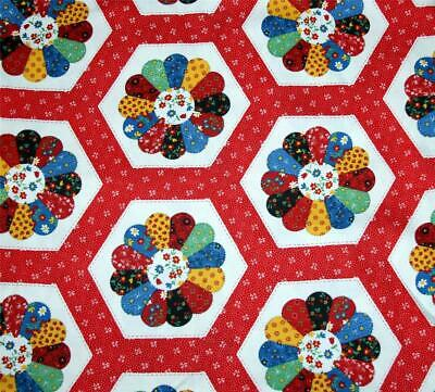 VTG Colorful Calico Pinwheel Petal Flower Patchwork Quilt Stitch Fabric BTY Med