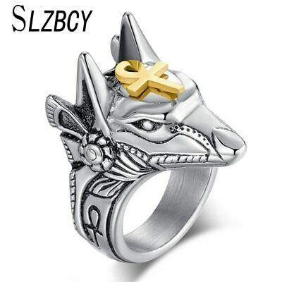 Ring For Men Classical Egyptian Cross Anubis God Wolf Head Geometry Metal