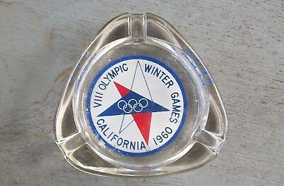 Vintage 1960 Winter Olympics Games Town House Ashtray Squaw Valley Glass Reno