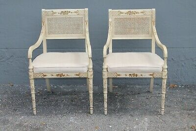 Pair Mid Century Taffeta Side Armchairs/ Faux Bamboo/ Caned Back