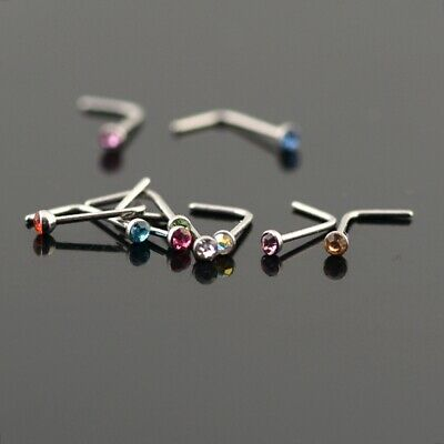 20x Silver Mixed Wholesale Colour Clawset Nose Studs Piercing Body Jewellery