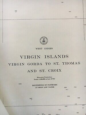 Nautical Virgin Islands Chart 905. Date 1964
