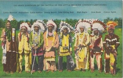 SIOUX SURVIVORS - LITTLE BIG HORN / CUSTERS LAST STAND 1930s / INDIANS in dress