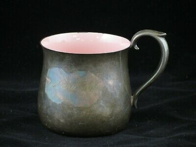 Vintage Reed & Barton 866 Silver Plate Baby Cup,Name Engraved,Pink Enamel Inside