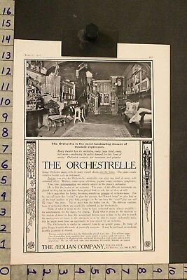1906 Music Instrument Aeolian Orchestrelle Piano Frohman Home Decor Ad Si19