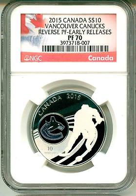 2015 S$10 Canada NHL Hockey Vancouver Canucks Reverse Proof ER NGC PF70