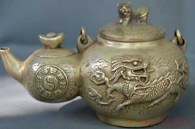 Ancient Chinese Collectable Handwork Miao Silver Carve Kylin Gourd Shape Tea Pot