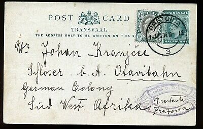 Transvaal 1904 Uprated Kgvi Postal Stationery Card To South West Africa. A466