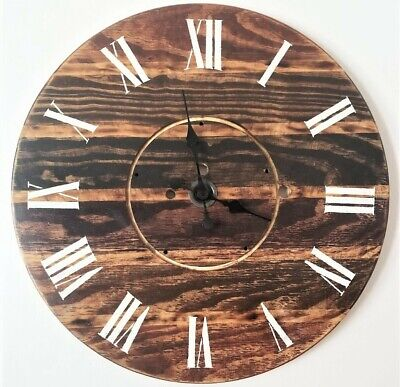 30 Inch Large Wood Spool Clock Farmhouse Wooden Wall Decor