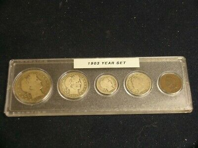 1903 Vintage Circulated Year Set - Nice 5-Coin Set