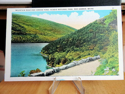 1930's Postcard Mountain Road & Bubble Pond Acadia National Park Bar Harbor ME