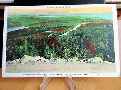 Linen Era Postcard Horseshoe Curve Cadillac Mountain Acadia National Park