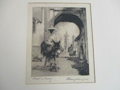 """Vintage Artist Signed """"street In Taxco"""" Etching"""