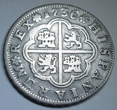 1736 Spanish Silver 2 Reales Piece of 8 Real Colonial Old Pirate Treasure Coin